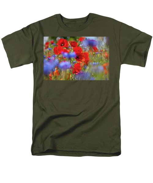 Red Poppies In The Maedow Men's T-Shirt  (Regular Fit) by Heiko Koehrer-Wagner