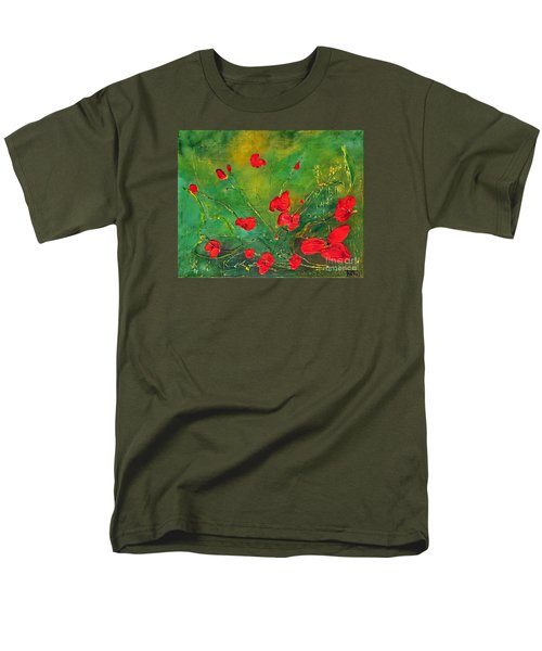 Men's T-Shirt  (Regular Fit) featuring the painting Red Poppies by Teresa Wegrzyn