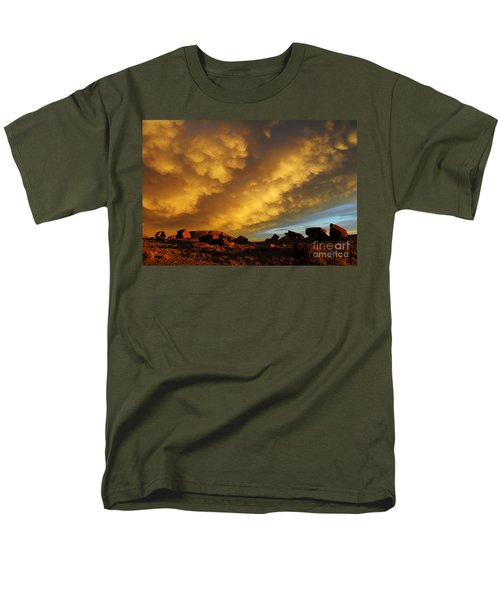 Red Rock Coulee Sunset Men's T-Shirt  (Regular Fit) by Vivian Christopher