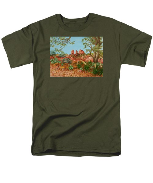 Men's T-Shirt  (Regular Fit) featuring the painting Landscapes Desert Red Rocks Of Sedona Arizona by Katherine Young-Beck
