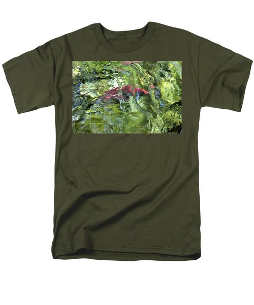Men's T-Shirt  (Regular Fit) featuring the photograph Red Salmon In Steep Creek by Cathy Mahnke