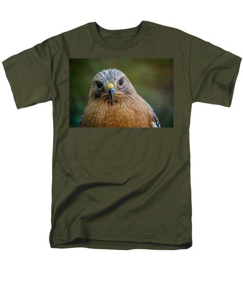 Red Shouldered Hawk Men's T-Shirt  (Regular Fit) by Linda Villers