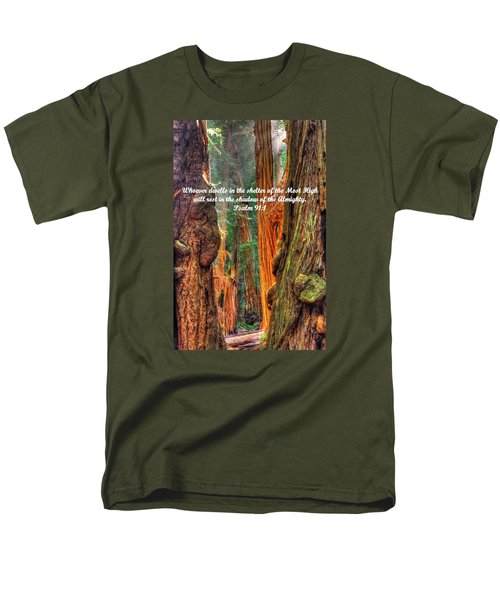 Rest In The Shadow Of The Almighty - Psalm 91.1 - From Sunlight Beams Into The Grove At Muir Woods Men's T-Shirt  (Regular Fit) by Michael Mazaika