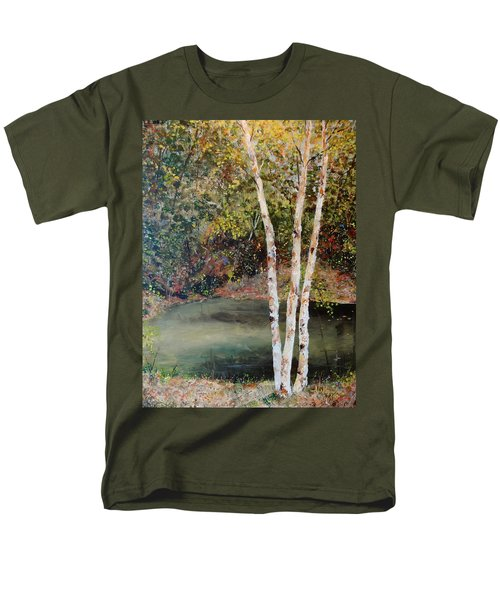 Men's T-Shirt  (Regular Fit) featuring the painting River Birch by Alan Lakin