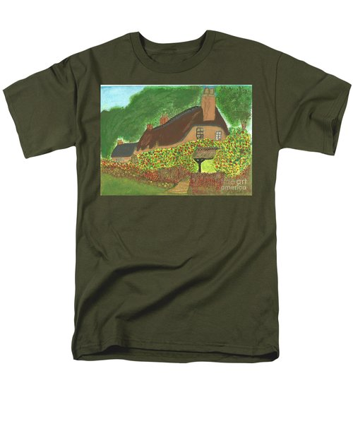 Men's T-Shirt  (Regular Fit) featuring the painting Rose Cottage by Tracey Williams