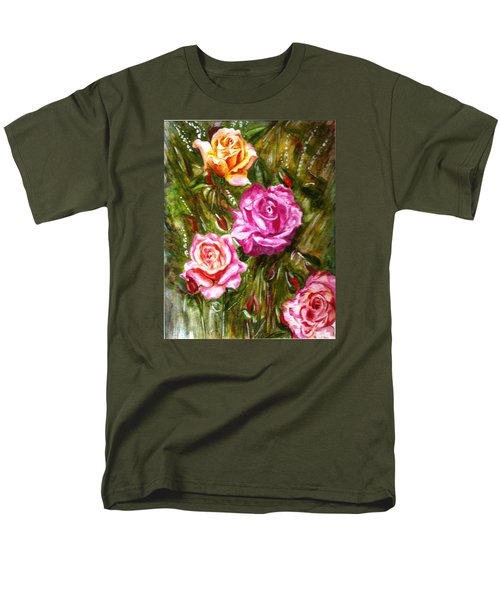 Men's T-Shirt  (Regular Fit) featuring the painting Roses by Harsh Malik