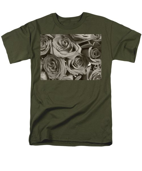 Men's T-Shirt  (Regular Fit) featuring the photograph Roses On Your Wall Sepia by Joseph Baril