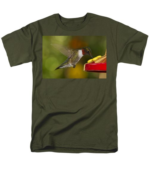 Men's T-Shirt  (Regular Fit) featuring the photograph Ruby-throat Hummer Sipping by Robert L Jackson
