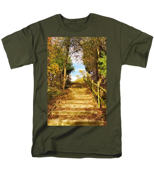 Men's T-Shirt  (Regular Fit) featuring the photograph Rustic Stairway by Jean Goodwin Brooks