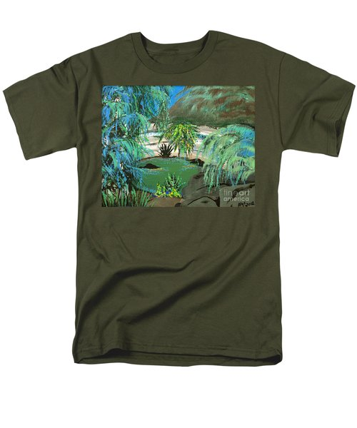Men's T-Shirt  (Regular Fit) featuring the painting Sacred Cenote At Chichen Itza by Alys Caviness-Gober