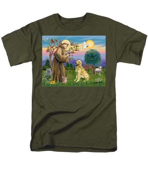 Men's T-Shirt  (Regular Fit) featuring the digital art Saint Francis Blesses A Golden Retriever by Jean Fitzgerald