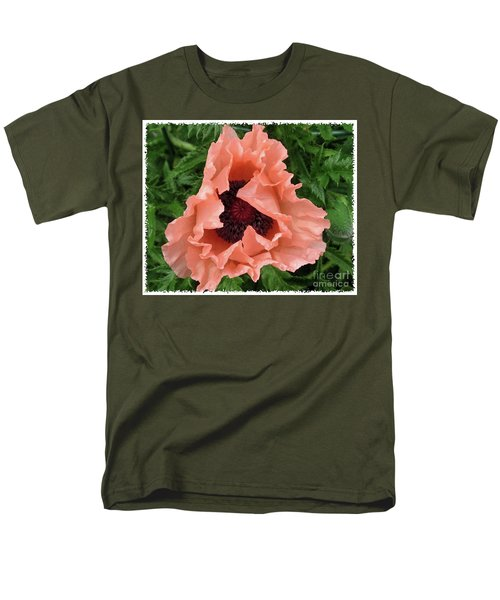 Salmon Colored Poppy Men's T-Shirt  (Regular Fit) by Barbara Griffin