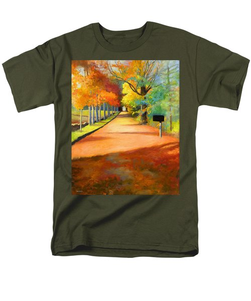 Sawmill Road Autumn Vermont Landscape Men's T-Shirt  (Regular Fit) by Catherine Twomey