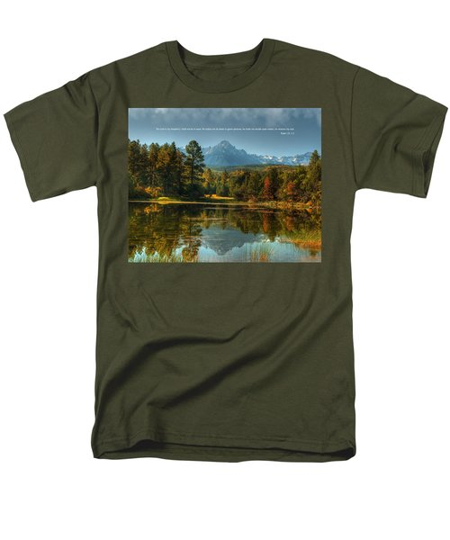 Scripture And Picture Psalm 23 Men's T-Shirt  (Regular Fit) by Ken Smith