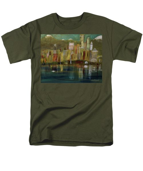 Seattle Cityscape Men's T-Shirt  (Regular Fit) by Dick Bourgault