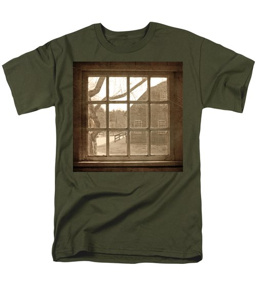 Sepia Colonial Scene Through Antique Window Men's T-Shirt  (Regular Fit) by Brooke T Ryan