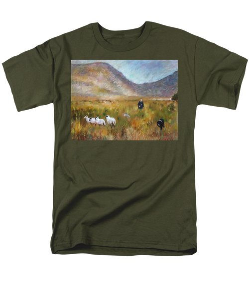Men's T-Shirt  (Regular Fit) featuring the drawing Shepherd And Sheep In The Valley  by Viola El