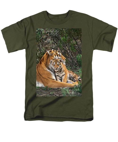 Siberian Tiger Mother And Cub Endangered Species Wildlife Rescue Men's T-Shirt  (Regular Fit) by Dave Welling