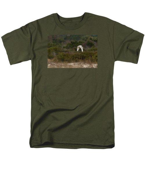 Men's T-Shirt  (Regular Fit) featuring the photograph Snowy Owl Dune Flight by Paul Rebmann