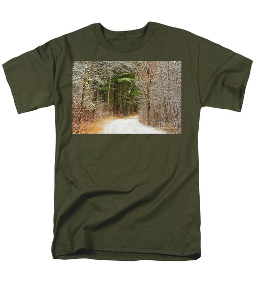 Snowy Tunnel Of Trees Men's T-Shirt  (Regular Fit) by Terri Gostola