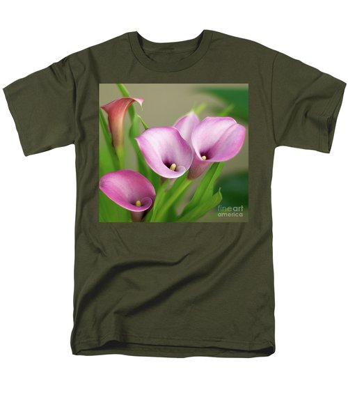 Soft Pink Calla Lilies Men's T-Shirt  (Regular Fit) by Byron Varvarigos