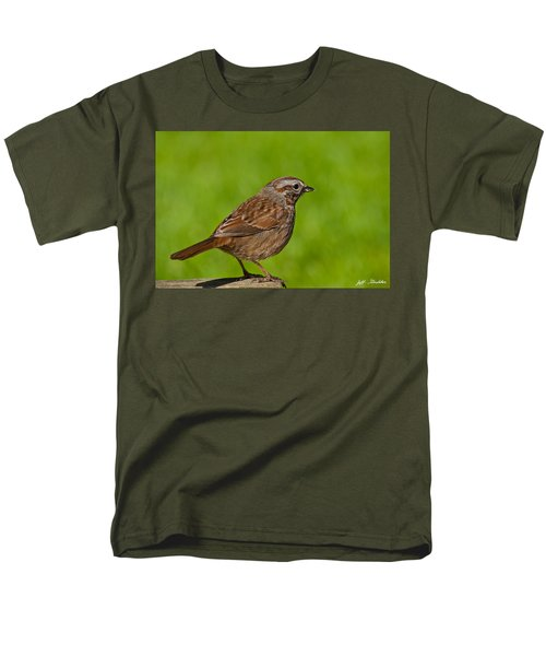 Song Sparrow On A Log Men's T-Shirt  (Regular Fit) by Jeff Goulden