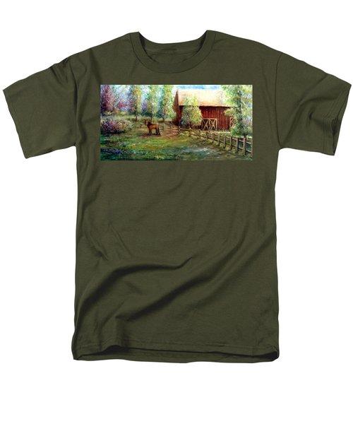 Men's T-Shirt  (Regular Fit) featuring the painting Springborn Horse Farm by Bernadette Krupa
