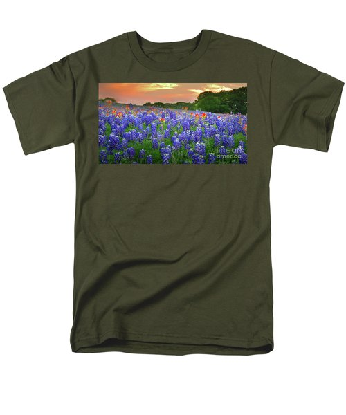 Springtime Sunset In Texas - Texas Bluebonnet Wildflowers Landscape Flowers Paintbrush Men's T-Shirt  (Regular Fit) by Jon Holiday