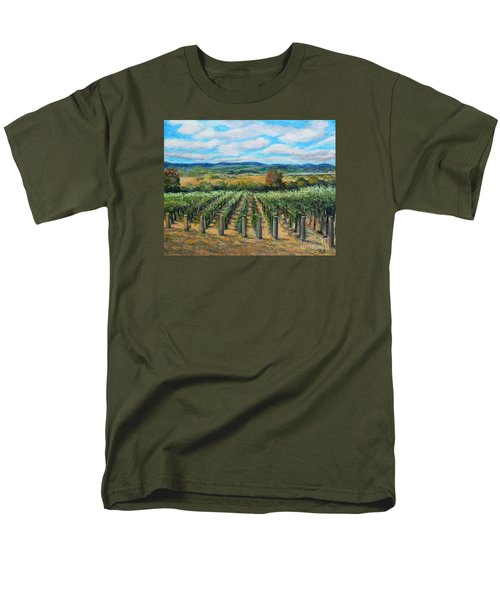 Men's T-Shirt  (Regular Fit) featuring the painting Stags' Leap Vineyard by Rita Brown