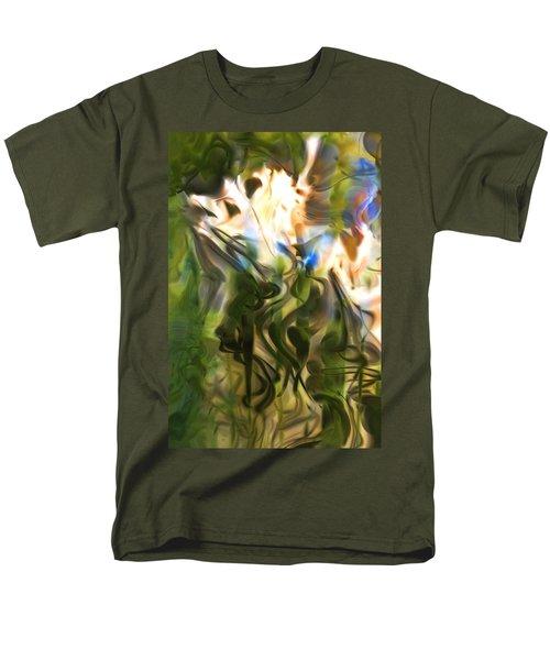 Men's T-Shirt  (Regular Fit) featuring the digital art Stork In The Music Garden by Richard Thomas