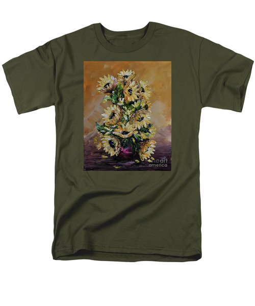 Men's T-Shirt  (Regular Fit) featuring the painting Sunflowers For You by Teresa Wegrzyn