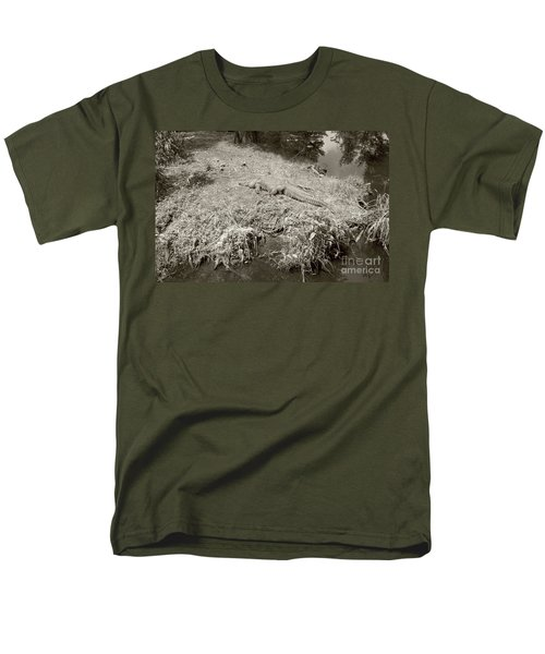 Men's T-Shirt  (Regular Fit) featuring the photograph Sunny Gator Sepia  by Joseph Baril