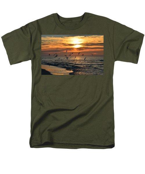 Men's T-Shirt  (Regular Fit) featuring the photograph Sunrise Colors Over Navarre Beach With Flock Of Seagulls by Jeff at JSJ Photography
