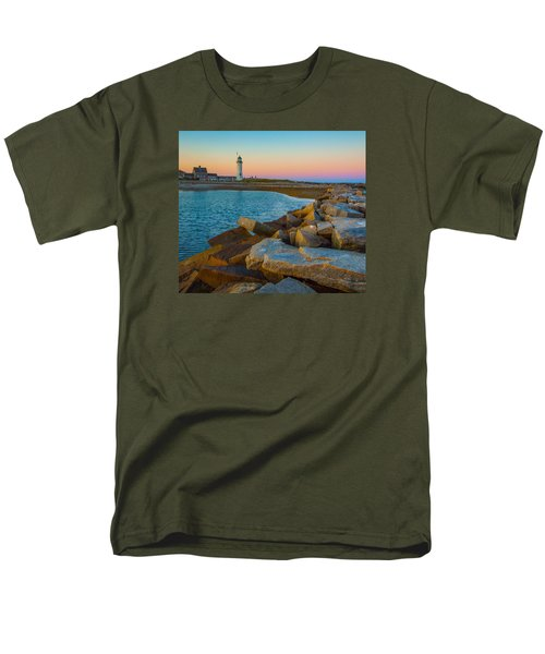 Sunset At Old Scituate Lighthouse Men's T-Shirt  (Regular Fit) by Brian MacLean
