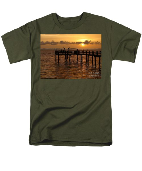 Men's T-Shirt  (Regular Fit) featuring the photograph Sunset On The Dock by Peggy Hughes