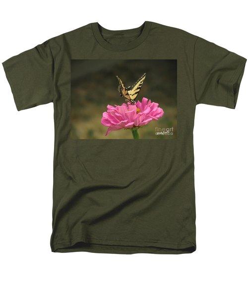 Swallowtail On A Zinnia Men's T-Shirt  (Regular Fit) by Debby Pueschel
