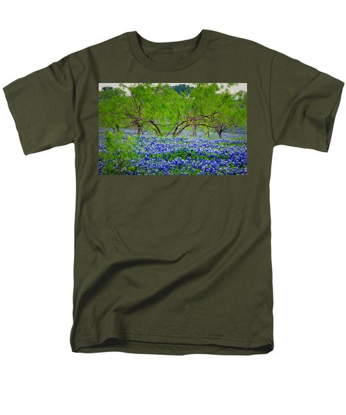 Men's T-Shirt  (Regular Fit) featuring the photograph Texas Bluebonnets - Texas Bluebonnet Wildflowers Landscape Flowers by Jon Holiday