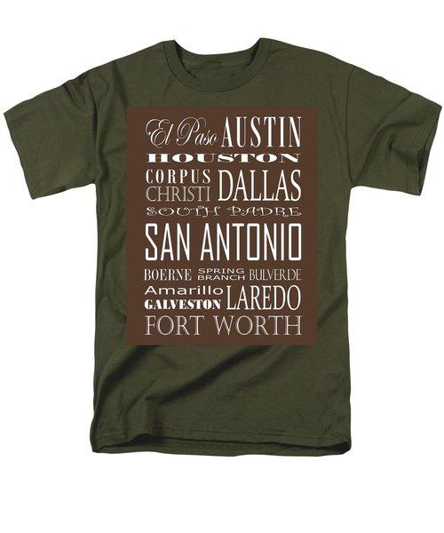 Texas Cities On Brown Men's T-Shirt  (Regular Fit) by Debbie Karnes