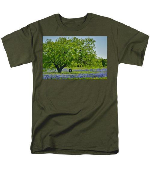 Men's T-Shirt  (Regular Fit) featuring the photograph Texas Life - Bluebonnet Wildflowers Landscape Tire Swing by Jon Holiday