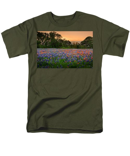 Men's T-Shirt  (Regular Fit) featuring the photograph Texas Sunset - Bluebonnet Landscape Wildflowers by Jon Holiday