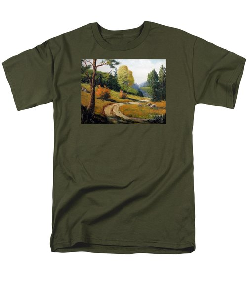 Men's T-Shirt  (Regular Fit) featuring the painting The Road Not Taken by Lee Piper