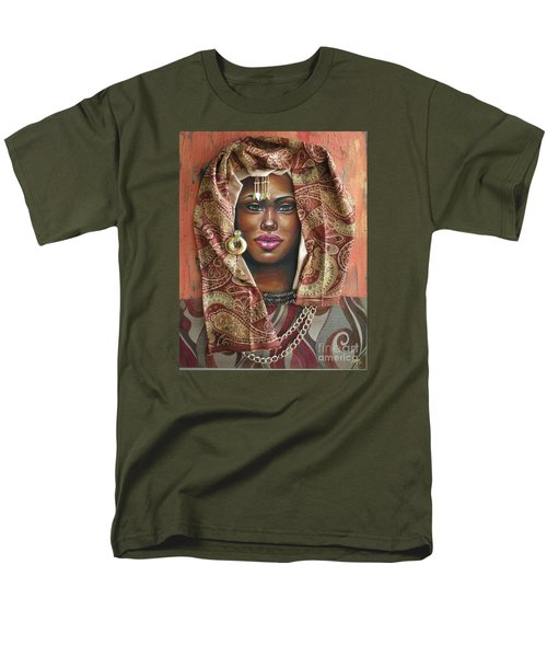 Men's T-Shirt  (Regular Fit) featuring the painting The Whole Story Behind Her Hazel Eyes by Alga Washington