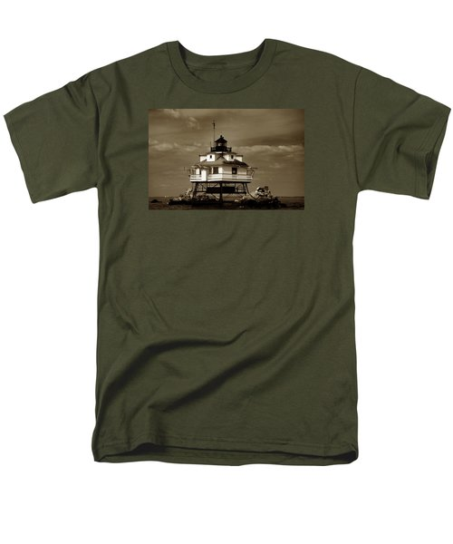 Thomas Point Shoal Lighthouse Sepia Men's T-Shirt  (Regular Fit) by Skip Willits