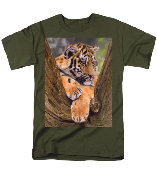Tiger Cub Painting Men's T-Shirt  (Regular Fit) by David Stribbling