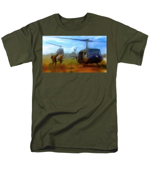 Men's T-Shirt  (Regular Fit) featuring the painting Time Sacrificed II Vietnam Veterans  by Iconic Images Art Gallery David Pucciarelli