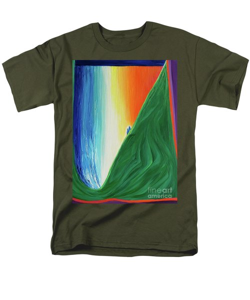 Men's T-Shirt  (Regular Fit) featuring the painting Travelers Rainbow Waterfall By Jrr by First Star Art