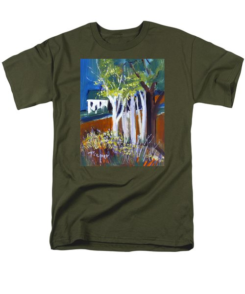 Men's T-Shirt  (Regular Fit) featuring the painting Trees And White Farm House by Betty Pieper
