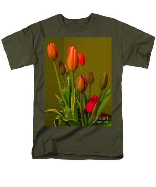 Tulips Against Green Men's T-Shirt  (Regular Fit) by Nina Silver