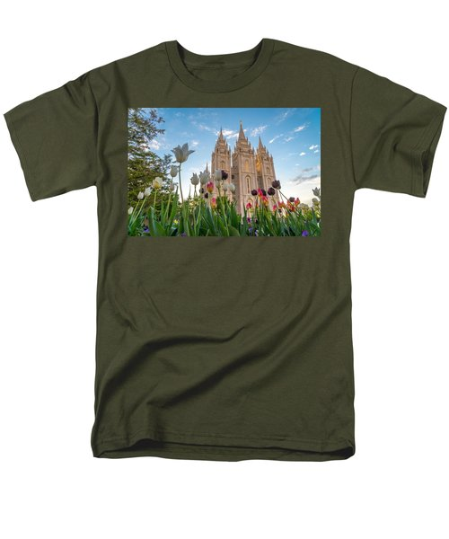 Tulips At The Temple Men's T-Shirt  (Regular Fit) by Dustin  LeFevre