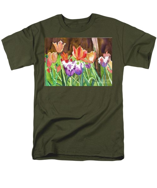 Men's T-Shirt  (Regular Fit) featuring the painting Tulips In Spring by Yolanda Koh